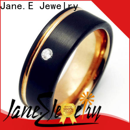 JaneE inlay brushed tungsten carbide engagement rings engraved for wedding