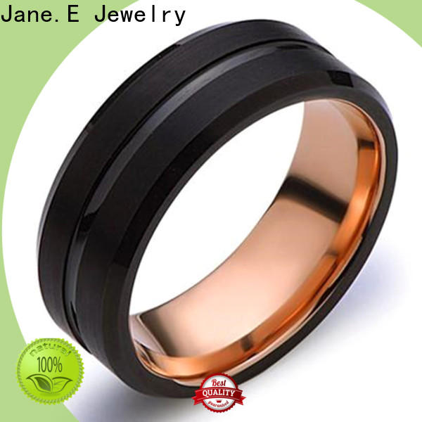 JaneE meteorite tungsten carbide rings engraved for gift