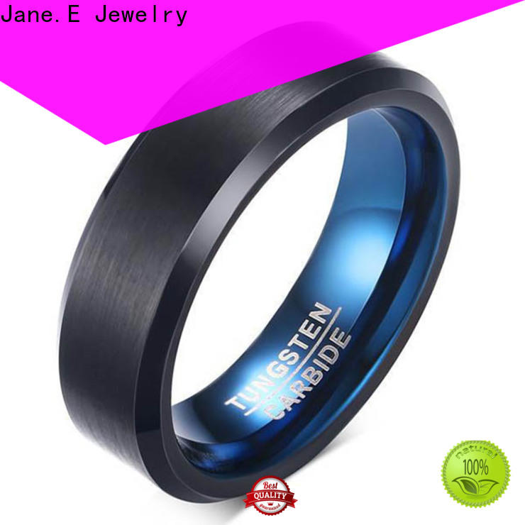 JaneE koa wood mens black wedding bands matt for engagement