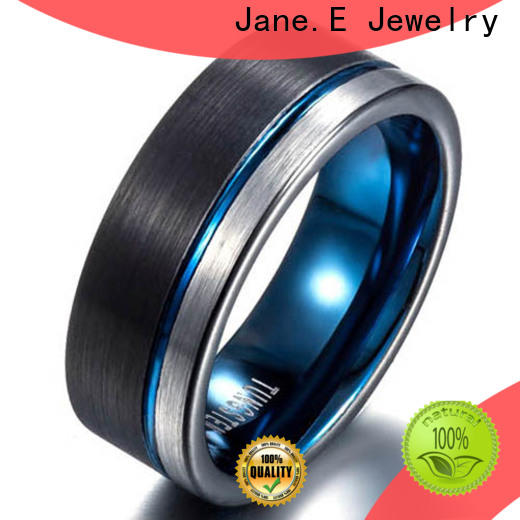 JaneE shiny polished rose gold tungsten ring matt for engagement
