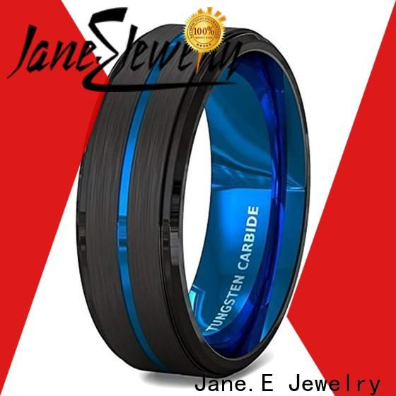 JaneE multi colors tungsten carbide engagement rings engraved for gift