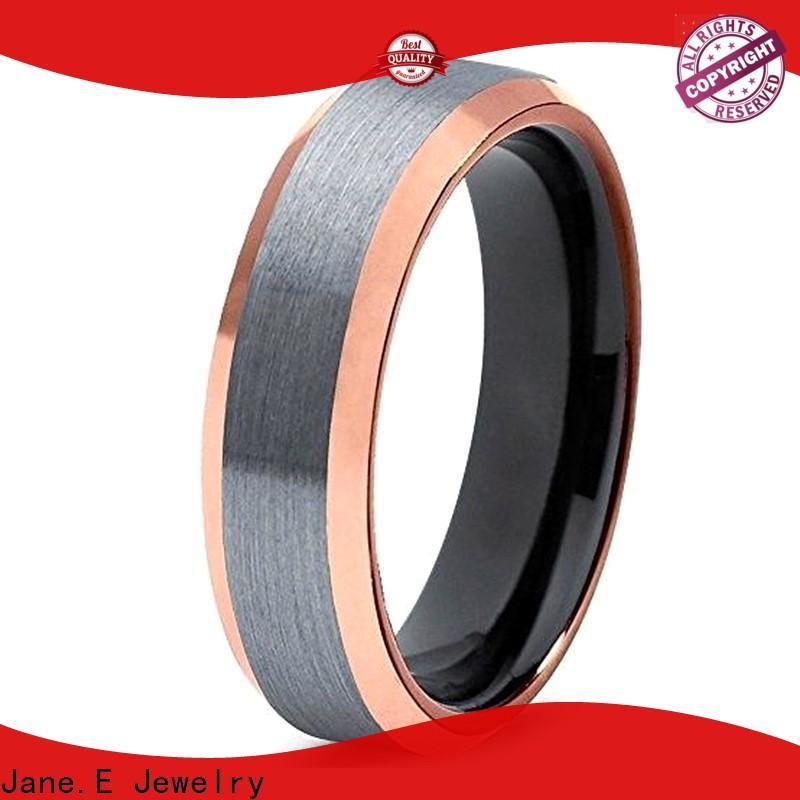 JaneE traditional black tungsten wedding bands matt for engagement