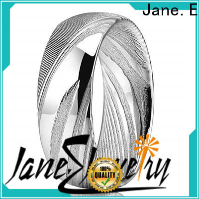 JaneE watery or wavy patterns damascus steel mens wedding band wholesale for wedding