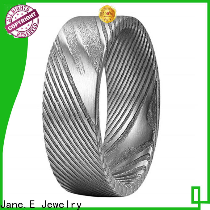 JaneE IP black plated damascus steel mens ring factory direct for engagement