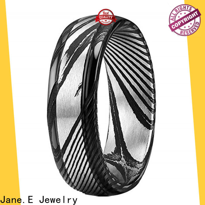 JaneE brushed finish damascus steel mens wedding ring factory direct for wedding