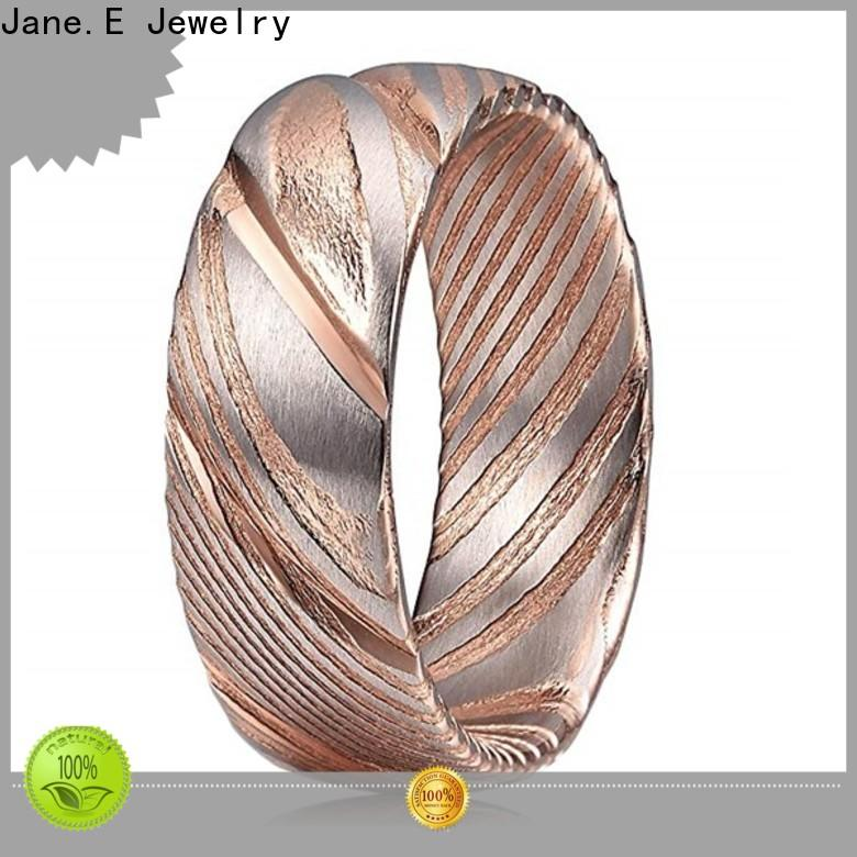 JaneE brushed finish damascus steel wedding band factory direct for inlay