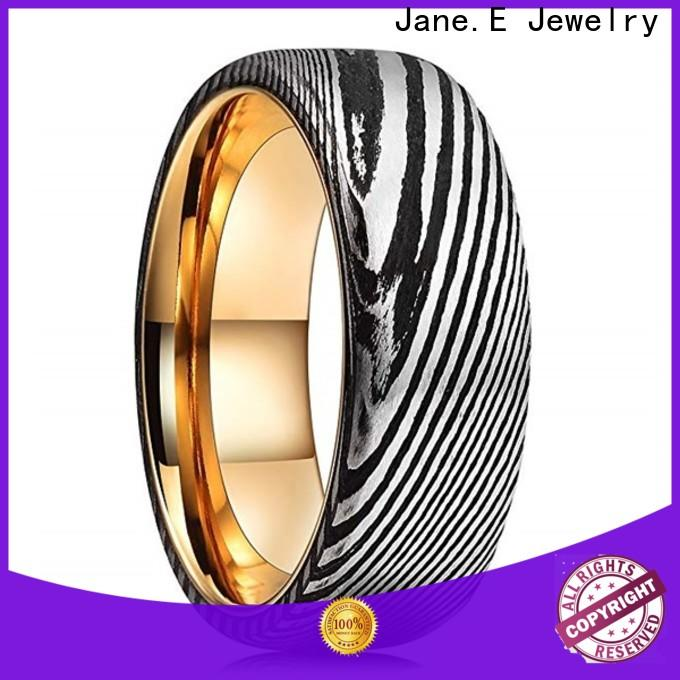 JaneE brushed finish damascus steel mens wedding band factory direct for inlay