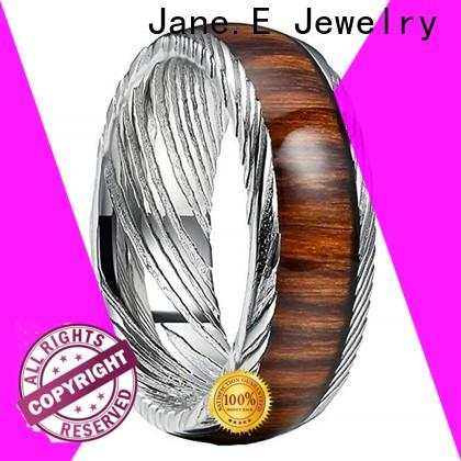 JaneE brushed finish damascus steel wedding band wholesale for inlay