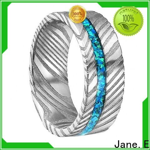 JaneE IP black plated damascus steel and wood wedding band wholesale for wedding