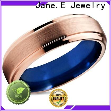 JaneE shiny polished mens black tungsten wedding bands engraved for engagement