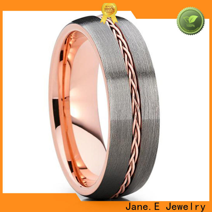 JaneE shiny polished rose gold tungsten mens wedding band exquisite for wedding