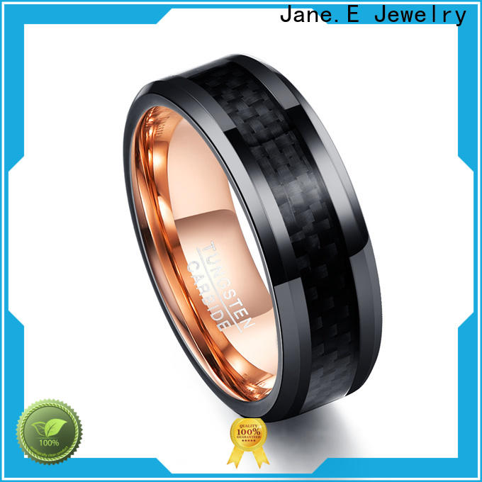 JaneE red opal 6mm tungsten ring engraved for gift