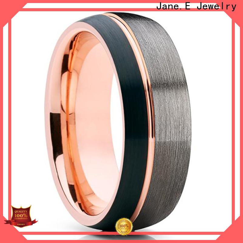 JaneE two tones blue tungsten wedding bands engraved for wedding