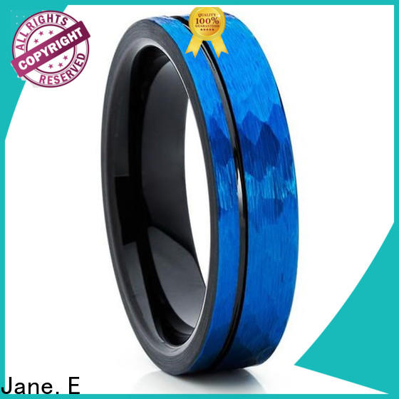 JaneE traditional tungsten ring engraved for wedding