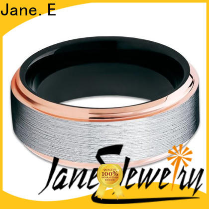 JaneE koa wood rose gold tungsten ring engraved for gift