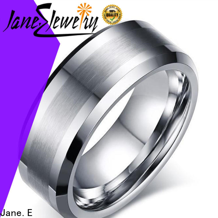 shiny polished black wedding rings for men two tones engraved for gift