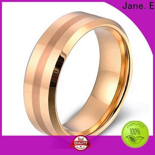 JaneE inlay brushed womens tungsten wedding rings engraved for gift