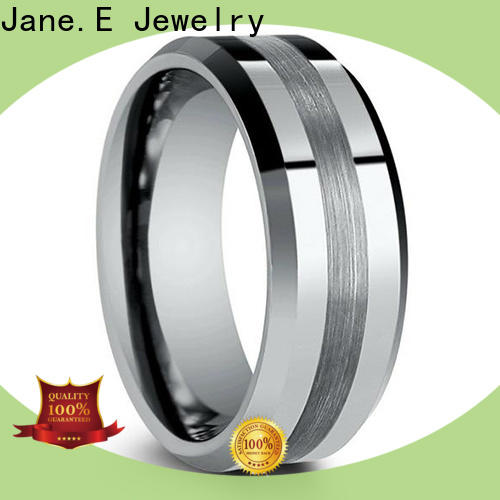 JaneE two tones rose gold tungsten mens wedding band engraved for wedding