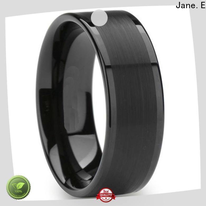 JaneE meteorite mens tungsten wedding bands matt for engagement