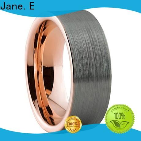 JaneE shiny polished black tungsten wedding bands exquisite for engagement