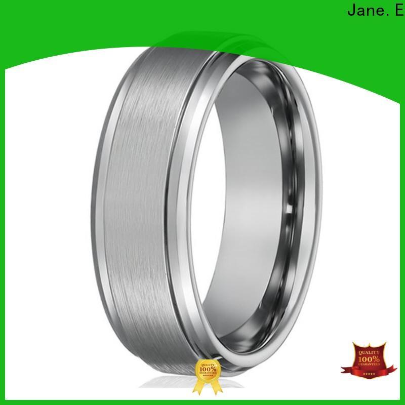 JaneE koa wood tungsten carbide mens wedding ring engraved for engagement