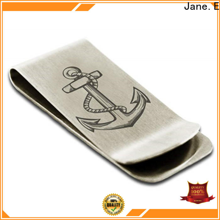JaneE wood inlay engraved money clip unique for men's wallet