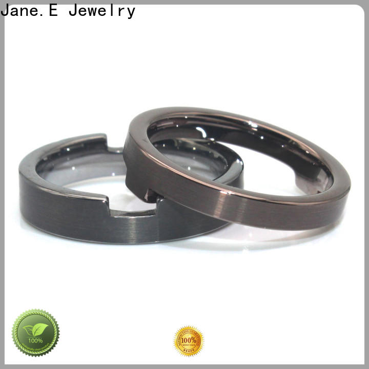 JaneE shiny simple stainless steel rings top quality for decoration