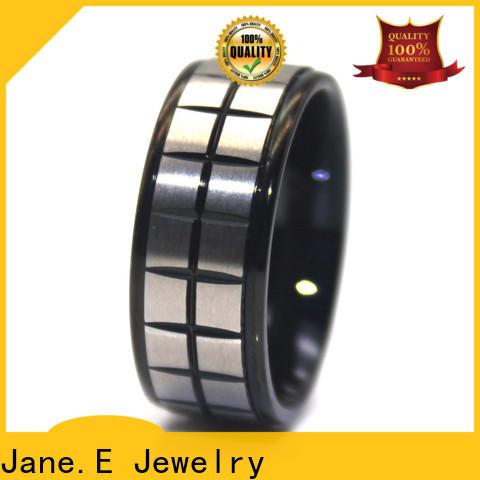 JaneE gunmetal stainless steel mens wedding bands top quality for men