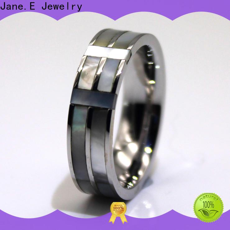 JaneE factory direct black steel ring multi colors for men