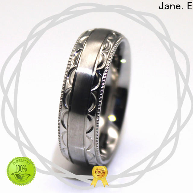 JaneE gunmetal stainless steel wedding band fashion design for weddings