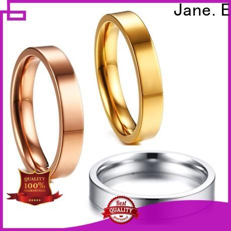 JaneE yellow gold black titanium rings wholesale for anniversary