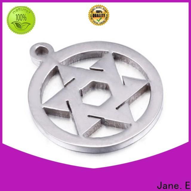 JaneE resin coating stainless steel engravable pendants custom for necklace