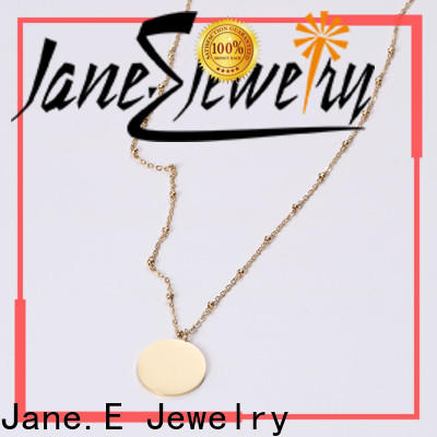 JaneE letter engraved stainless steel chain necklace mens different dimension for decoration