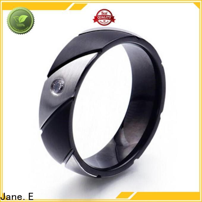 JaneE square edges stainless steel promise rings fashion design for men