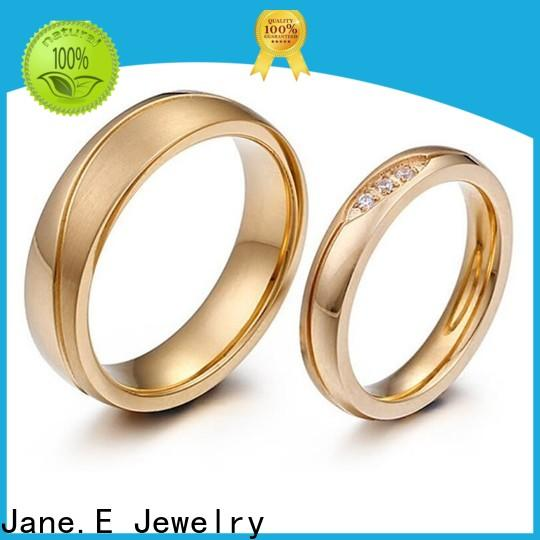 JaneE AAA CZ Stones stainless steel mens wedding bands comfortable for decoration