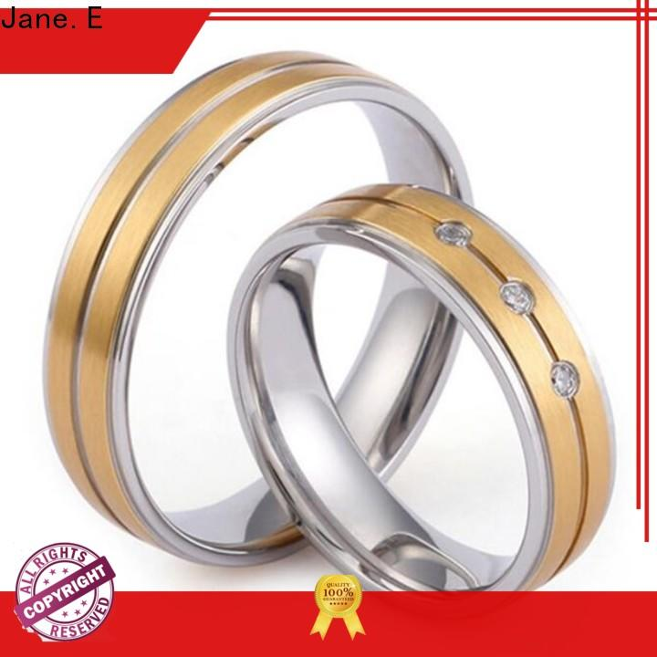JaneE factory direct women's stainless steel wedding rings comfortable for men