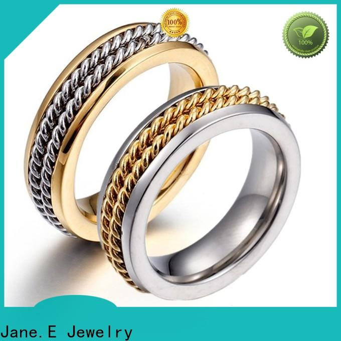 JaneE gunmetal simple stainless steel rings fashion design for decoration