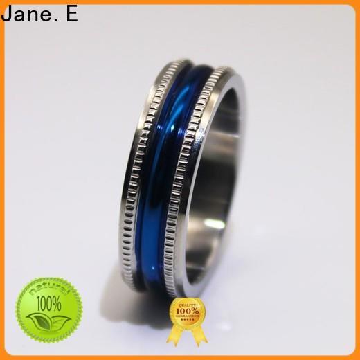 JaneE factory direct mens steel rings comfortable for weddings