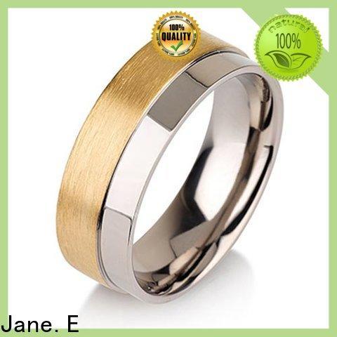 JaneE sparkle sandblasting custom made titanium rings simple for engagement
