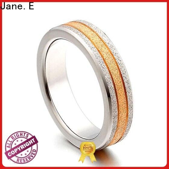 sparkle sandblasting titanium rings for women 14k yellow gold modern design for anniversary