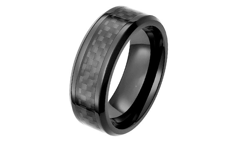 JaneE hypoallergenic black zirconium wedding band contemporary supplier-1