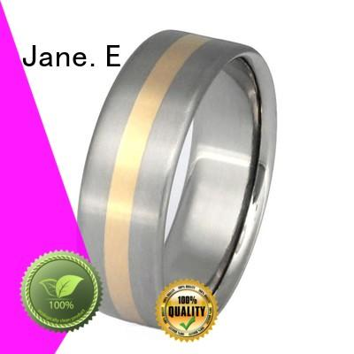JaneE 14k yellow gold titanium ring core simple for engagement