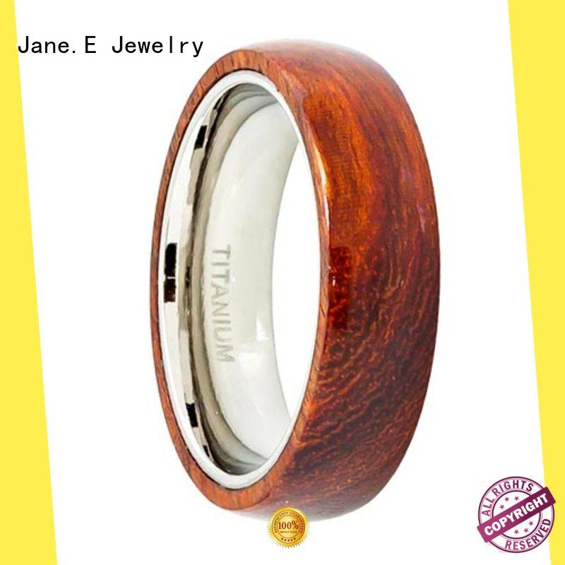 JaneE polished edge titanium ring for men simple for anniversary