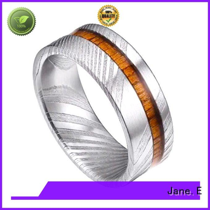 IP black plated damascus steel and wood wedding band wood veneer inlay wholesale for inlay