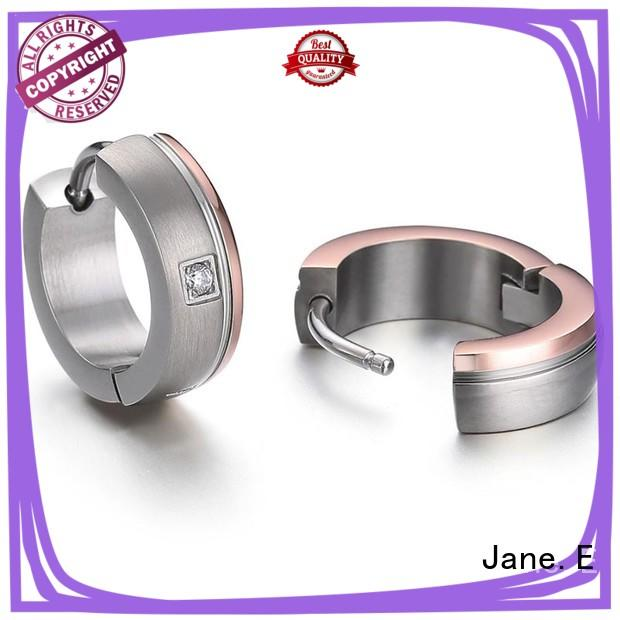 JaneE zirconia body surgical grade titanium earrings IP gold for girl