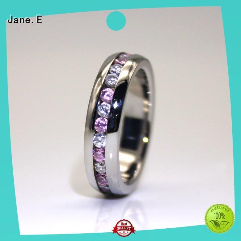 JaneE shiny black stainless steel mens ring multi colors for men