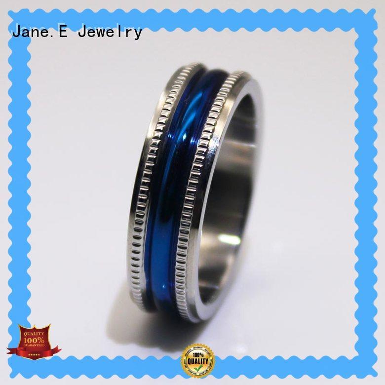 JaneE square edges steel wedding rings milgrain for weddings