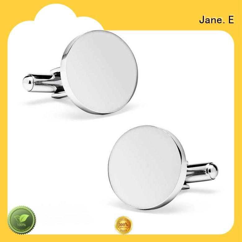 JaneE laser engraved brushed steel cufflinks engrave for men