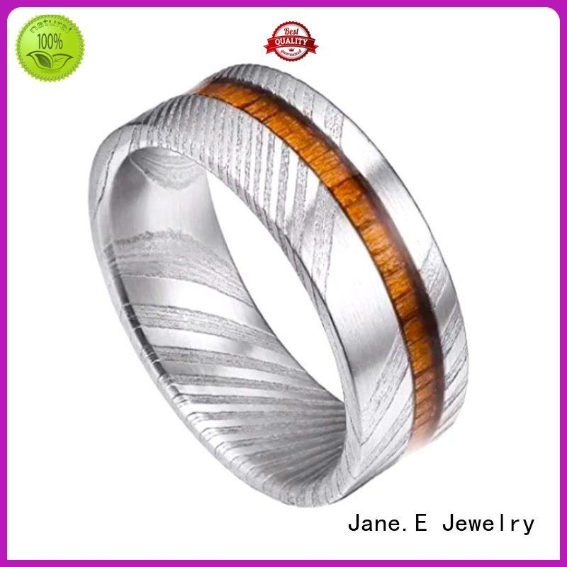 JaneE keen edges damascus steel ring with wood inlay factory direct for inlay
