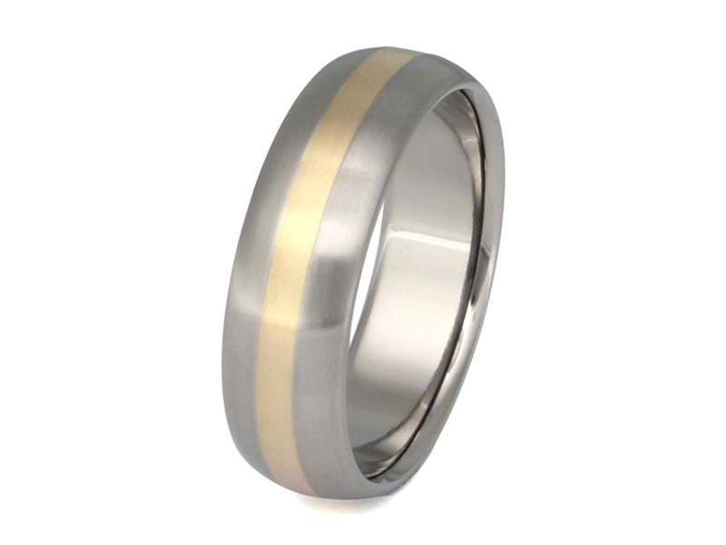 JaneE 14k yellow gold titanium wedding bands modern design for anniversary-2